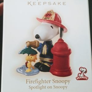 Firefighter Snoopy Christmas Ornament